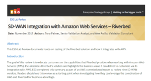 SD-WAN Integration with Amazon Web Services - ESG