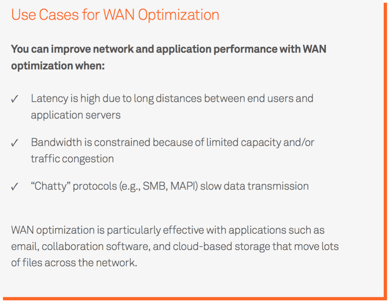 Use cases for WAN optimization with SD-WAN