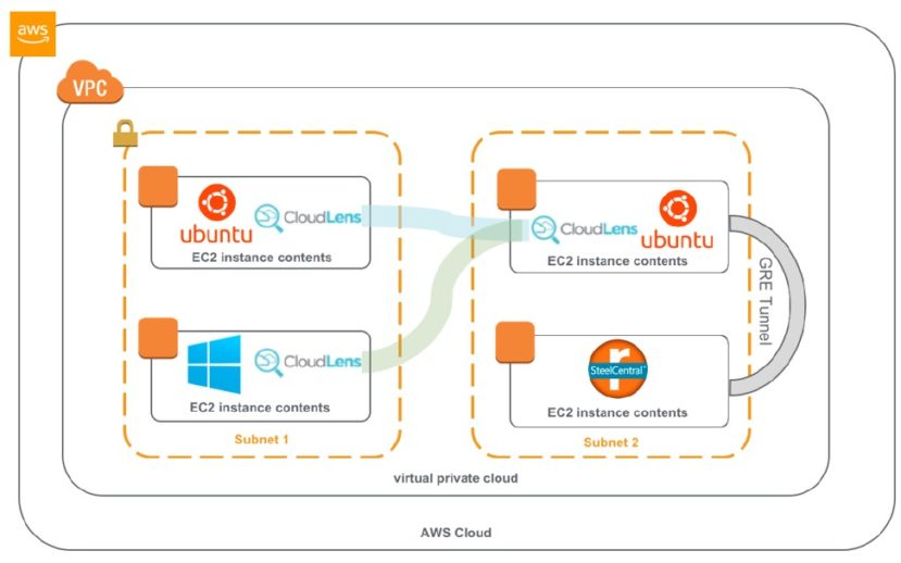 Visualization of how Ixia CloudLens works
