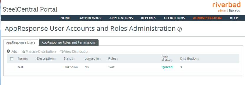 Portal can manage AppResponse User Accounts and Administer Roles