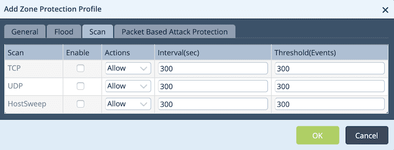 Zone Protection Profile Scan Tab